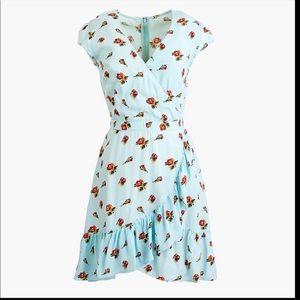 J Crew  Faux-Wrap dress Roses Print Blue2 #J4556